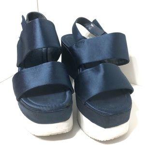 Zara basic navy blue sateen platform sandal sz 6